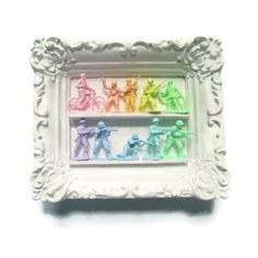 Mini Pastel Army Men Display Ready to Hang in Vintage Ornate Frame ($25) ❤ liked on Polyvore featuring home, home decor, home & living, home décor, silver, wall décor, wall hangings, mini figure, vintage home decor and miniature figure