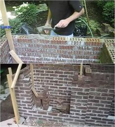 Building A Outdoor Fireplace Laying Bricks For Wall How To Build An Outdoor Fireplace Homesteading Skills Building Outdoor Fireplaces Wood Burning Outdoor Wood Burning Fireplace, Wood Burning Fires, Brick Fireplace, Outdoor Fireplaces, Fire Pit Construction, Pool Shed, Modern Fire Pit, Outdoor Planters, Homesteading