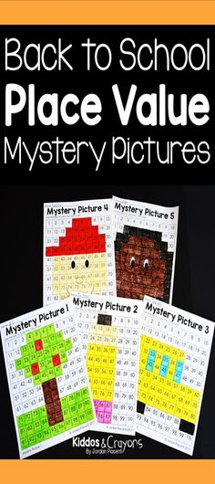 Back to School Place Value Mystery Puzzles-I am always looking for activities to help me teach my graders about place value. These place value mystery pictures can be used in a math center or as a whole class activity. Students identify the numbers u Second Grade Writing, Teaching Second Grade, Second Grade Teacher, First Grade Reading, First Grade Math, Teaching Math, Place Value Activities, First Grade Activities, Math Activities