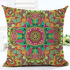 Paisley Pillow Case Bohemian Geometric Pillowcase Cotton Linen Ethnic Pillow Cover Bedroom 18x18 Inches Throw Pillows
