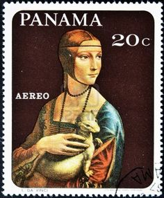 PANAMA - CIRCA 1967: A stamp printed in Panama shows painting of Leonardo da Vinci - Lady with an Ermine, circa 1967