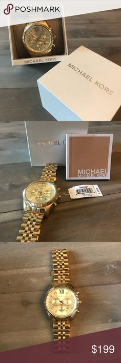 """NWT Michael Kors Men's Gold Watch BRAND NEW WITH TAGS - Michael Kors Men's Chronograph Lexington Gold-Tone Stainless Steel Bracelet Watch 45mm MK8281.   Protective plastic still on face and back. This piece was tried on but never worn. I purchased it for my husband but it's not""""his style"""". I removed the price tag (now placed in box) before gifting it to him. Everything is in perfect condition. Michael Kors Accessories Watches"""