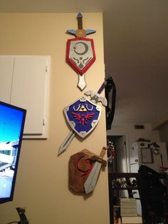 Three swords and shields of Ocarina of Time