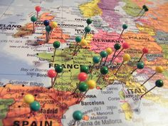 World map, color coded, for places I have been and places I want to go. Flags with dates for places I've been/when?