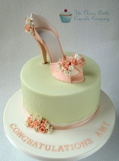 Bridal Shower/Hen Party Cake - I was so excited when I took this order. The shoes are loosely based on a shoe in the movie Burlesque, and I am so glad of a sophisticated cake for a hen party!  Lemon sponge with lemon buttercream.