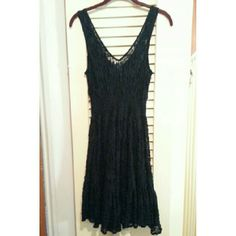 **FLASH**NWOT FREE PEOPLE BLACK LACE BOHO DRESS NWOT Sexy black lace Free People boho dress. Look great this festival season in this beautiful dress with black slip liner and elastic waist. Beading around the neckline. See last picture for fit on model. Free People Dresses Midi