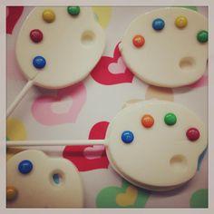 Art Palette White Chocolate Lollipops for Art Themed Birthday Party