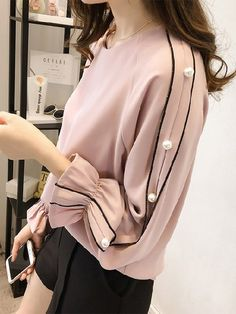 Women's Clothing,Women's Top,Bell Sleeve Casual Solid Shirts & Blouse,TEST