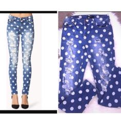 Polka dot ripped jeans Super chic and pretty. Low rise Jeans Skinny