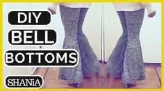 DIY tutorial on how to make stretchy DIY bell bottom pants tracing comfortable pair of pants