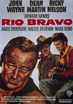 Rio Bravo A 1959 American Western film directed by Howard Hawks and starring John Wayne, Dean Martin, and Ricky Nelson. The supporting cast includes Angie Dickinson, Walter Brennan, and Ward Bond. Old Movie Posters, Classic Movie Posters, Movie Poster Art, Classic Films, Cinema Posters, Old Movies, Vintage Movies, Great Movies, Love Movie