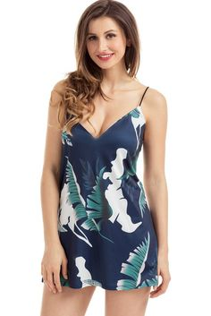 Tropical Palm Print Spaghetti Strap Short Dress MB220029-5 – ModeShe.com