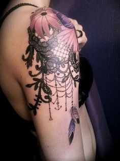 Floral and Lace Quarter Sleeve Tattoo