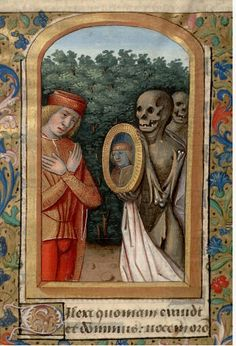 Young man and death from Book of Hours/Life of St Margaret (Paris, Bibl… Medieval Books, Medieval Tapestry, Medieval Manuscript, Medieval Art, Illuminated Manuscript, Medieval Paintings, Old Paintings, La Danse Macabre, Macabre Art