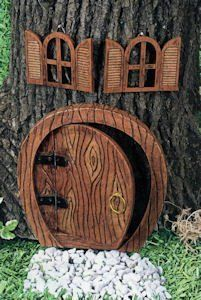 Gnome Home Doors and Windows for Any Tree I will make my fairy Garden with this Fairy Garden Doors, Fairy Garden Furniture, Fairy Garden Houses, Fairy Doors, Gnome Garden, Lawn And Garden, Garden Art, Fairy Village, Fairy Tree