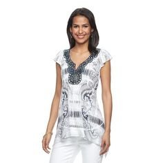 Women's World Unity Embellished Sublimation Top, Size: Medium, White Oth