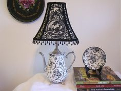 Country French Toile and Transferware Mosaic Lamp, A vintage silver teapot receives a new life.  I wired this into a lamp and then covered it in black transferware china.  Next I added a coordinating toile shade., Home Decor Project
