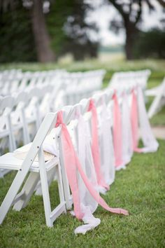 Decorated Chairs The Last Row With Ribbon
