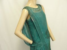 Green Beaded 1920's Dress side view