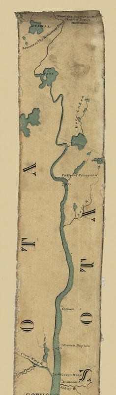 "Start at the top and scroll down this long 1866 ""ribbon map"" of the Mississippi River. It shows forts, settlements, cities, tributaries and plantations."