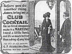 A 1902 advertisement for Club Cocktails featured in Murdock's book features a wealthy woman greeted by her butler as she arrives home