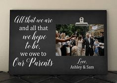 PARENTS gift from Bride and Groom Personalized frame Wedding