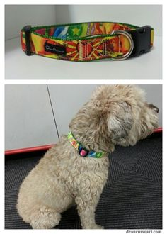 """AVAILABLE NOW!!! """"Steal Your Heart"""" dog collar by Dean Russo Art."""