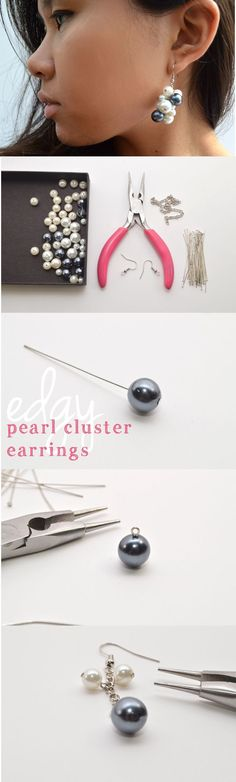 Edgy pearl cluster earrings you can DIY! So easy and inexpensive, these make great gifts. www.ehow.com/...
