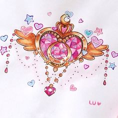 Little watercolor Moon Crisis transformation brooch inspired by a @anunnakitattoo design ☺️ Once again, this is several months old, I'm just re-posting my favorite stuff from my main account!   #sailormoon #mooncrisis #mooncrisiscompact #crystal #anime #manga #heart #wings #gold #painting #watercolor #drawing #doodle #winsorandnewton #pigmamicron #sakura #cute #kawaii #art