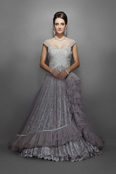 Grey-Silver Gown Encrusted with Delicate Lace & Net Flair