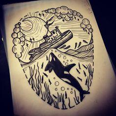 Design for Saturday. Orca vs tugboat @bravestkidstattoo. Mega excited! #tattoosuppliesuk #tattoo