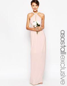 ASOS TALL WEDDING Plunge Wrap Maxi Dress With Tie Waist