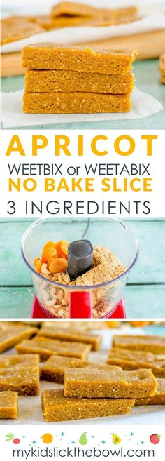 3 ingredient Apricot Weetbix Slice - No Bake! No bake apricot weetbix slice, easy 3 ingredient kid friendly recipe made with weetabix, or wheat biscuit breakfast cereal Baby Food Recipes, Gourmet Recipes, Sweet Recipes, Dessert Recipes, Cooking Recipes, Cooking Videos, Cooking Tips, Easy Recipes For Desserts, No Bake Recipes
