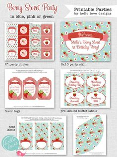 Berry Birthday Party   Berry Sweet Strawberry Party FULL Printable by hellolovedesigns