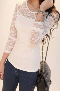 White Lace Top – Long Sleeves Lace Top – New York Fashion New Trends Look Fashion, Fashion Women, Fashion Outfits, Fashion Weeks, Paris Fashion, Top Jean, Pretty Outfits, Cute Outfits, Outfit Jeans