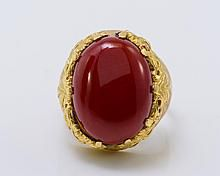 18K Yellow Gold Coral Oxblood Ring