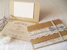 DIY Wedding invitations. So pretty, I love the lace and the ribbon.