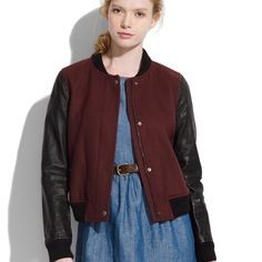 Madewell 'Stadium' jacket Lamb skin leather sleeves wool bomber jacket. Perfect condition. Only worn 3x. Price firm. Madewell Jackets & Coats