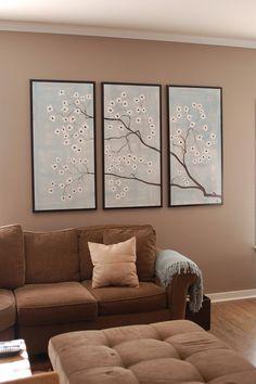 HUGE Dogwood Flower Branch Painting Delicate Blues Gray and White Elegant Original Art Spring Blossoms Custom Artwork 72x48