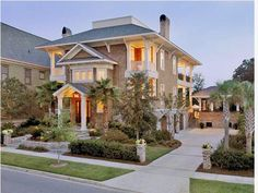 Charleston home - classical columns from the Colonial Revival movement & wide porches from the Queen Anne era