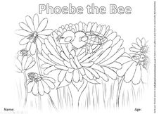 Colour In Phoebe the Bee Coloring Pictures For Kids, Colouring Pages, Mother Earth, Free Printables, Bee, Tapestry, Activities, Creative, Quote Coloring Pages