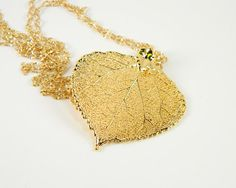 24K Gold Aspen Leaf Necklace on 18 inch Chain by MaryMorrisJewelry, $27.00 #real #leaf #jewelry