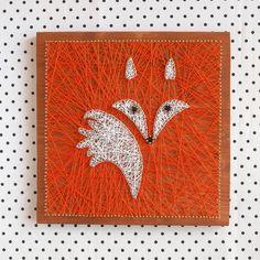 Nursery decoration, fox string art made on reclaimed wood planks, perfect decor…