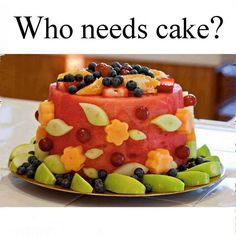 "Directions: The ""cake"" is watermelon. Cut the ends off the watermelon to form the top & bottom of the cake; then cut away the rind from the sides of the cake. Use cookie cutters to cut cantaloupe flowers and honeydew leaves/ Use toothpicks to attach to cake. Decorate with additional strawberries, blueberries, apples, grapes, and oranges."