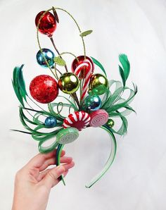 ugly sweater party headband, whoville headband, christmas headpiece fascinator, ugly christmas sweater for women, whoville costume hair piec Grinch Christmas Party, Christmas Hair, Office Christmas, Noel Christmas, Christmas Costumes, Diy Christmas Gifts, Christmas Wreaths, Christmas Bulbs, Whoville Costumes