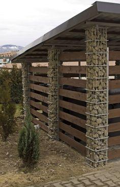 Le plus récent Coût -Gratuit pergola carport fence Concepts Fence Design, Garden Design, House Design, Wire Deck Railing, Carport Modern, Modern Garage, Gabion Wall, Gabion Fence Ideas, Gabion Cages