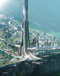 futuristic architecture environment + Great Buildings And Structures - futuristic architecture future city Cyberpunk City, Futuristic City, Futuristic Architecture, Amazing Architecture, Architecture Design, Cyberpunk Fashion, Futuristic Design, Fantasy Art Landscapes, Fantasy Landscape