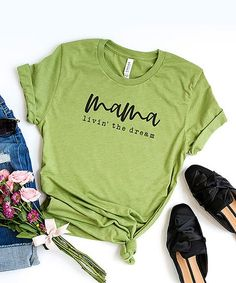 Simply Sage Market Light Green & Black Mama Livin The Dream Short-Sleeve Tee - Women | Zulily