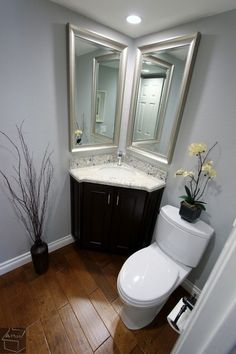 What's the difference between designing a basement bathroom vs. any other bathroom? Check out the latest basement bathroom ideas today! Basement bathroom, Basement bathroom ideas and Small bathroom. Small Bathroom Ideas On A Budget, Budget Bathroom, Bathroom Interior, Dyi Bathroom, Corner Bathroom Mirror, Bathroom Furniture, Relaxing Bathroom, Bathroom Inspo, Toilet Design