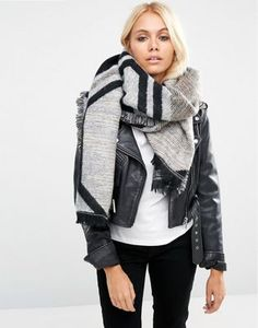 ASOS Oversized Long Woven Scarf In Graphic Shape